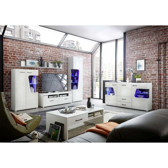 Wohnkombination in Weiß Hochglanz LED Beleuchtung (6-teilig)
