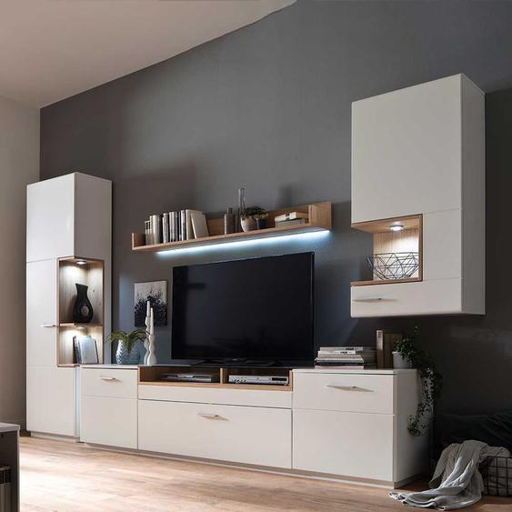 Wohnkombination in Weiß und Asteiche Furnier 340 cm breit (4-teilig)