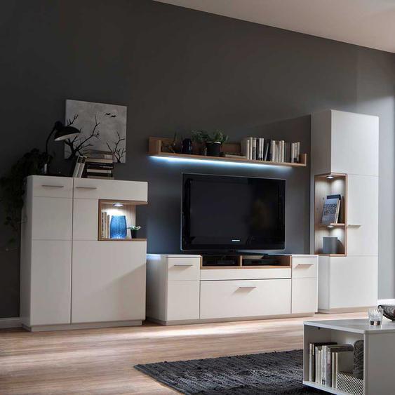 Wohnkombination in Weiß und Asteiche furniert 320 cm breit (4-teilig)