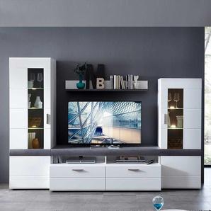 Wohnkombination in Weiß und Beton Grau 280 cm breit (vierteilig)