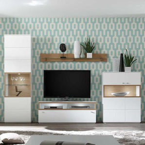 Wohnkombination in Wei� und Eiche Bianco furniert 275 cm breit (4-teilig)