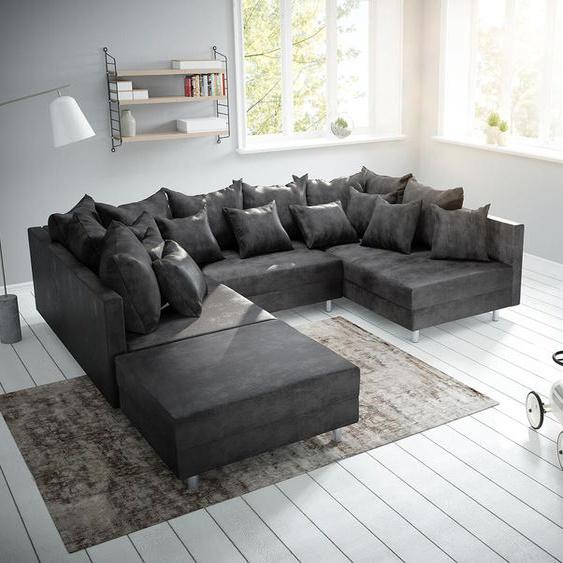 Wohnlandschaft Clovis Anthrazit Antik Optik modular Hocker, Design Wohnlandschaften, Couch Loft, Modulsofa, modular