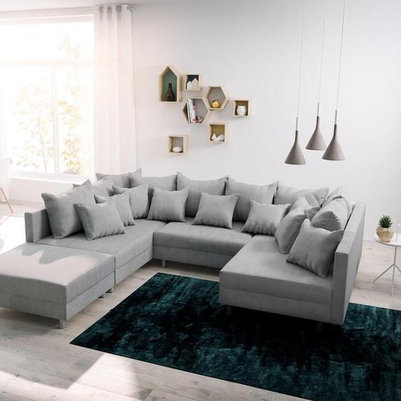 Wohnlandschaft Clovis Grau modular Flachgewebe Hocker, Design Wohnlandschaften, Couch Loft, Modulsofa, modular
