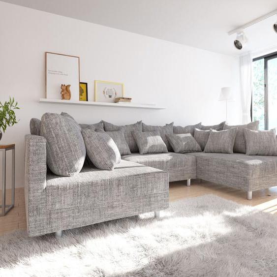 Wohnlandschaft Clovis Hellgrau Strukturstoff Modulsofa, Design Wohnlandschaften, Couch Loft, Modulsofa, modular