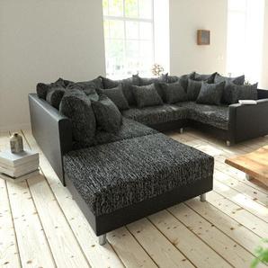 Big-Sofa Violetta 310x135 Creme Hellgrau mit 12 Kissen, Big Sofas