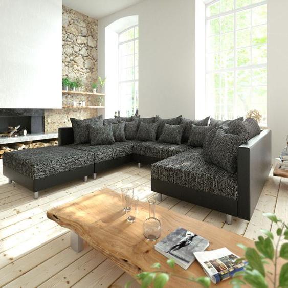 Wohnlandschaft Clovis Schwarz Modulsofa mit Hocker, Design Wohnlandschaften, Couch Loft, Modulsofa, modular