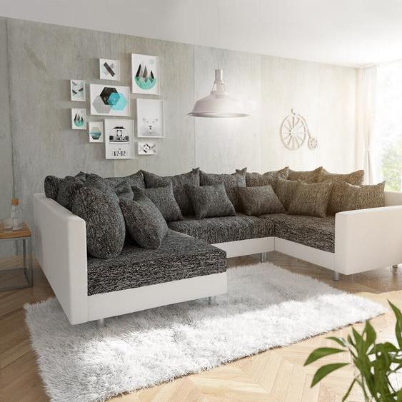 Wohnlandschaft Clovis Weiss Schwarz mit Armlehne, Design Wohnlandschaften, Couch Loft, Modulsofa, modular