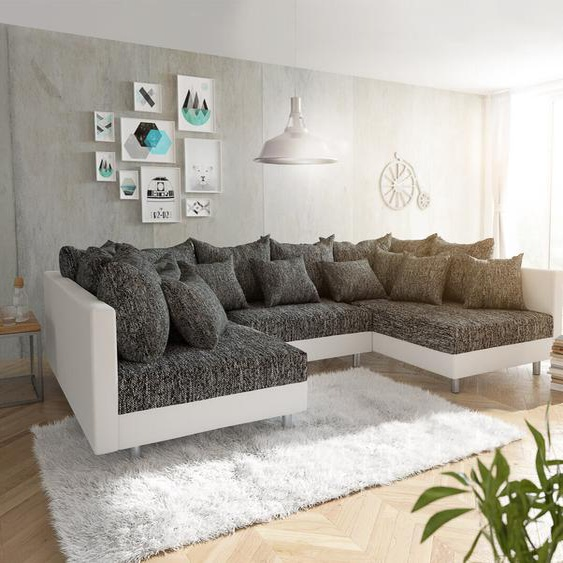 Wohnlandschaft Clovis Weiss Schwarz Modulares Sofa, Design Wohnlandschaften, Couch Loft, Modulsofa, modular