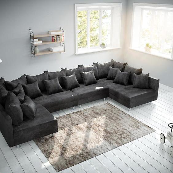 Wohnlandschaft Clovis XL Anthrazit Antik Optik Modulsofa, Design Wohnlandschaften, Couch Loft, Modulsofa, modular