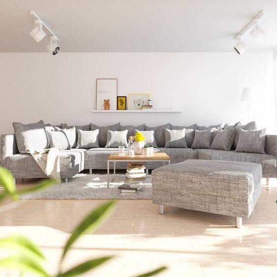Wohnlandschaft Clovis XL Hellgrau Strukturstoff Modulsofa Hocker, Design Wohnlandschaften, Couch Loft, Modulsofa, modular