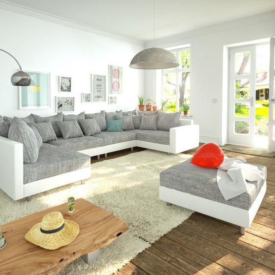 Wohnlandschaft Clovis XL Weiss Hellgrau Hocker Armlehne modular, Design Wohnlandschaften, Couch Loft, Modulsofa, modular