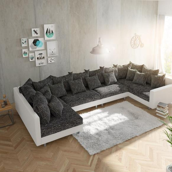 Wohnlandschaft Clovis XL Weiss Schwarz mit Armlehne modular, Design Wohnlandschaften, Couch Loft, Modulsofa, modular