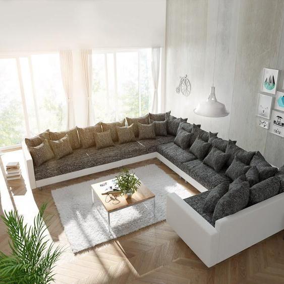 Wohnlandschaft Clovis XXL Weiss Schwarz mit Armlehne Ottomane Links, Design Wohnlandschaften, Couch Loft, Modulsofa, modular