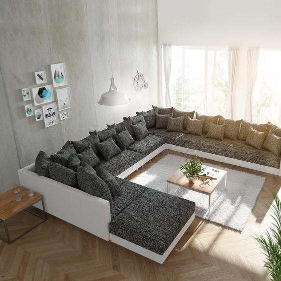 Wohnlandschaft Clovis XXL Weiss Schwarz mit Hocker Ottomane Rechts, Design Wohnlandschaften, Couch Loft, Modulsofa, modular