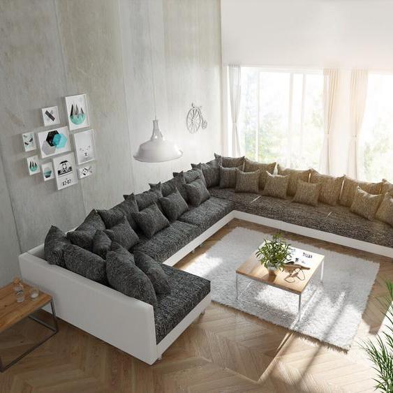 Wohnlandschaft Clovis XXL Weiss Schwarz Ottomane Rechts, Design Wohnlandschaften, Couch Loft, Modulsofa, modular