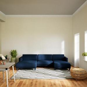 Wohnlandschaft Jeansblau - Flexible Designer-Wohnlandschaft: Hochwertige Materialien, einzigartiges Design - 304 x 75 x 162 cm, Konfigurator