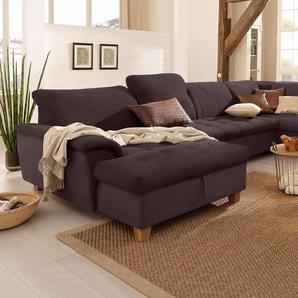 Home affaire Wohnlandschaft Lyla », wahlweise mit Rückenfunktion und zusätzlich mit Bett + Bettkasten«, 352cm, Recamiere links