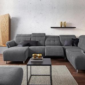 Wohnlandschaft »Manhattan«, grau, 345cm, Ottomane rechts, FSC-Zertifikat, , , FSC®-zertifiziert, Places of Style