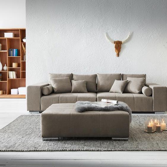 Wohnlandschaft Marbeya 285x115 cm Beige mit Hocker Sofa, Big Sofas