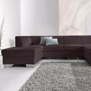 DOMO collection Wohnlandschaft, mit Bettfunktion, Récamiere rechts oder links, FSC®-zertifiziert, braun, mit Schlaffunktion, frei stellbar