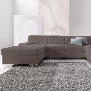 DOMO collection Wohnlandschaft, mit Bettfunktion, Récamiere rechts oder links, FSC®-zertifiziert, grau, mit Schlaffunktion, frei stellbar