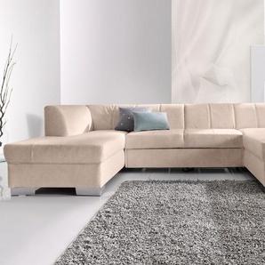 DOMO collection Wohnlandschaft, mit Bettfunktion, Récamiere rechts oder links, FSC®-zertifiziert, beige, mit Schlaffunktion, frei stellbar