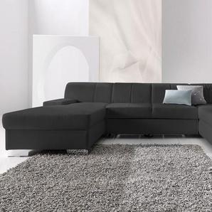 DOMO collection Wohnlandschaft, mit Bettfunktion, Récamiere rechts oder links, FSC®-zertifiziert, schwarz, mit Schlaffunktion, frei stellbar