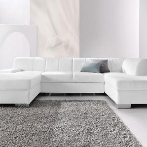 DOMO collection Wohnlandschaft, mit Bettfunktion, Récamiere rechts oder links, FSC®-zertifiziert, weiß, mit Schlaffunktion, frei stellbar