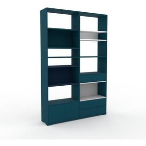 Wohnwand Blau - Individuelle Designer-Regalwand: Schubladen in Blau & Türen in Blau - Hochwertige Materialien - 152 x 235 x 35 cm, Konfigurator