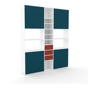 Wohnwand Weiß - Individuelle Designer-Regalwand: Schubladen in Rot & Türen in Blau - Hochwertige Materialien - 190 x 234 x 35 cm, Konfigurator