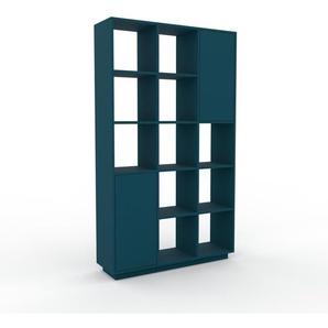 Wohnwand Blau - Individuelle Designer-Regalwand: Türen in Blau - Hochwertige Materialien - 118 x 200 x 35 cm, Konfigurator
