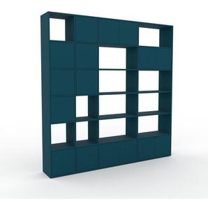 Wohnwand Blau - Individuelle Designer-Regalwand: Türen in Blau - Hochwertige Materialien - 229 x 233 x 35 cm, Konfigurator