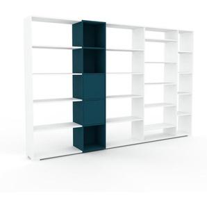 Wohnwand Weiß - Individuelle Designer-Regalwand: Türen in Marineblau - Hochwertige Materialien - 303 x 196 x 35 cm, Konfigurator
