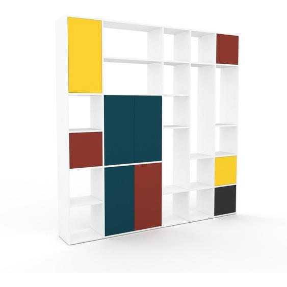 Wohnwand Blaugrün - Individuelle Designer-Regalwand: Türen in Terrakotta - Hochwertige Materialien - 231 x 233 x 35 cm, Konfigurator