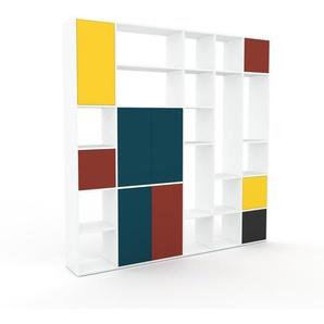 Wohnwand Weiß - Individuelle Designer-Regalwand: Türen in Rot - Hochwertige Materialien - 231 x 233 x 35 cm, Konfigurator