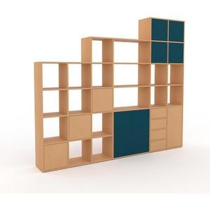 Wohnwand Buche - Individuelle Designer-Regalwand: Schubladen in Buche & Türen in Blau - Hochwertige Materialien - 270 x 233 x 35 cm, Konfigurator