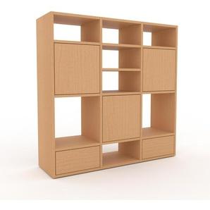 Wohnwand Buche - Individuelle Designer-Regalwand: Schubladen in Buche & Türen in Buche - Hochwertige Materialien - 118 x 118 x 35 cm, Konfigurator