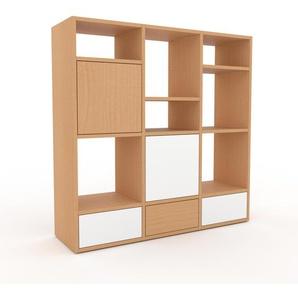 Wohnwand Buche - Individuelle Designer-Regalwand: Schubladen in Weiß & Türen in Buche - Hochwertige Materialien - 118 x 118 x 35 cm, Konfigurator