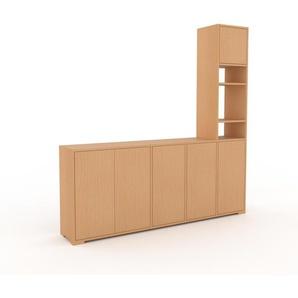 Wohnwand Buche - Individuelle Designer-Regalwand: Türen in Buche - Hochwertige Materialien - 193 x 196 x 35 cm, Konfigurator