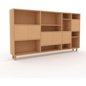 Wohnwand Buche - Individuelle Designer-Regalwand: Türen in Buche - Hochwertige Materialien - 229 x 130 x 35 cm, Konfigurator