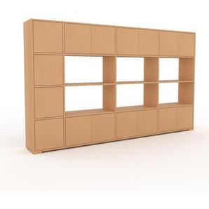 Wohnwand Buche - Individuelle Designer-Regalwand: Türen in Buche - Hochwertige Materialien - 265 x 158 x 35 cm, Konfigurator