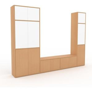 Wohnwand Buche - Individuelle Designer-Regalwand: Türen in Buche - Hochwertige Materialien - 265 x 195 x 35 cm, Konfigurator