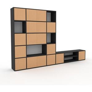 Wohnwand Anthrazit - Individuelle Designer-Regalwand: Türen in Buche - Hochwertige Materialien - 306 x 195 x 35 cm, Konfigurator