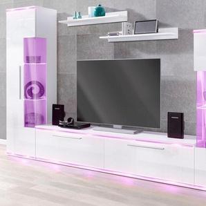 Wohnwand , weiß, pflegeleichte Oberfläche, FSC®-zertifiziert, weiß