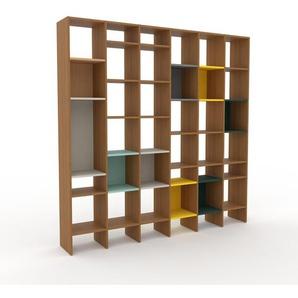 Wohnwand Eiche, Holz - Individuelle Designer-Regalwand: Hochwertige Qualität, einzigartiges Design - 233 x 233 x 35 cm, Konfigurator