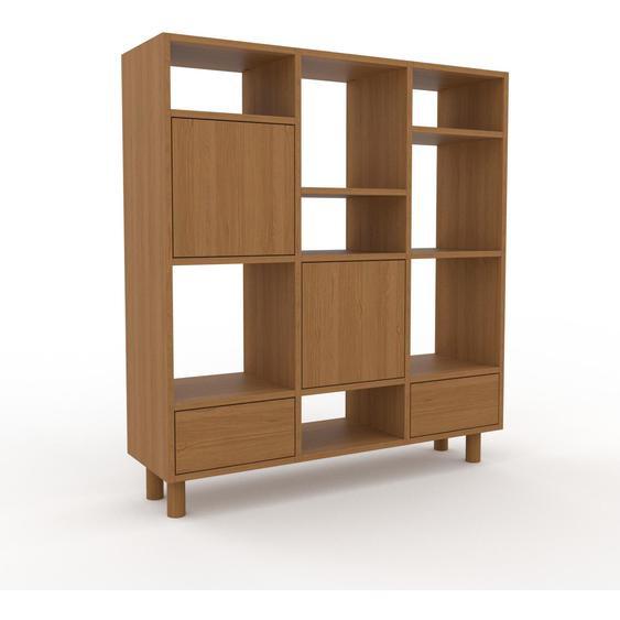 Wohnwand Eiche - Individuelle Designer-Regalwand: Schubladen in Eiche & Türen in Eiche - Hochwertige Materialien - 118 x 130 x 35 cm, Konfigurator