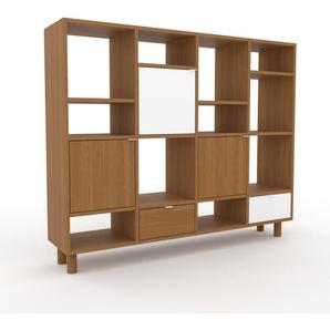 Wohnwand Eiche - Individuelle Designer-Regalwand: Schubladen in Eiche & Türen in Eiche - Hochwertige Materialien - 156 x 130 x 35 cm, Konfigurator