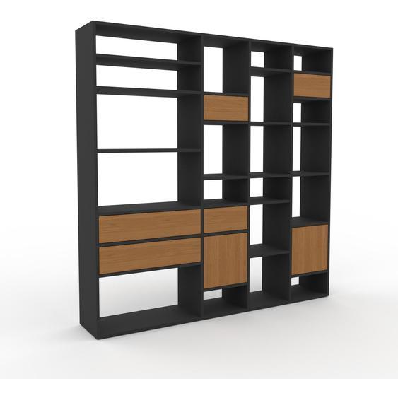 Wohnwand Eiche - Individuelle Designer-Regalwand: Schubladen in Eiche & Türen in Eiche - Hochwertige Materialien - 193 x 195 x 35 cm, Konfigurator
