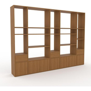 Wohnwand Eiche - Individuelle Designer-Regalwand: Schubladen in Eiche & Türen in Eiche - Hochwertige Materialien - 267 x 195 x 35 cm, Konfigurator