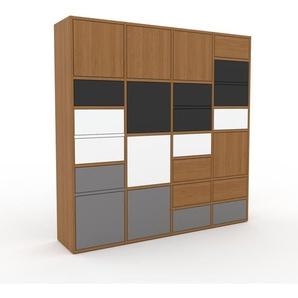 Wohnwand Eiche - Individuelle Designer-Regalwand: Schubladen in Anthrazit & Türen in Eiche - Hochwertige Materialien - 156 x 157 x 35 cm, Konfigurator